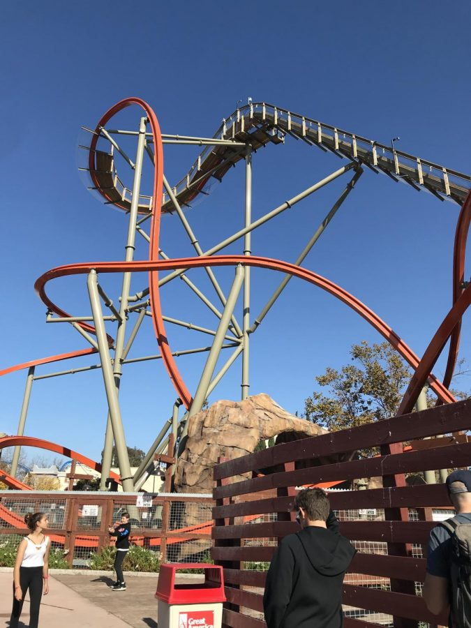 Railblazer: An RMC Raptor at California's Great America in Santa Clara, California.